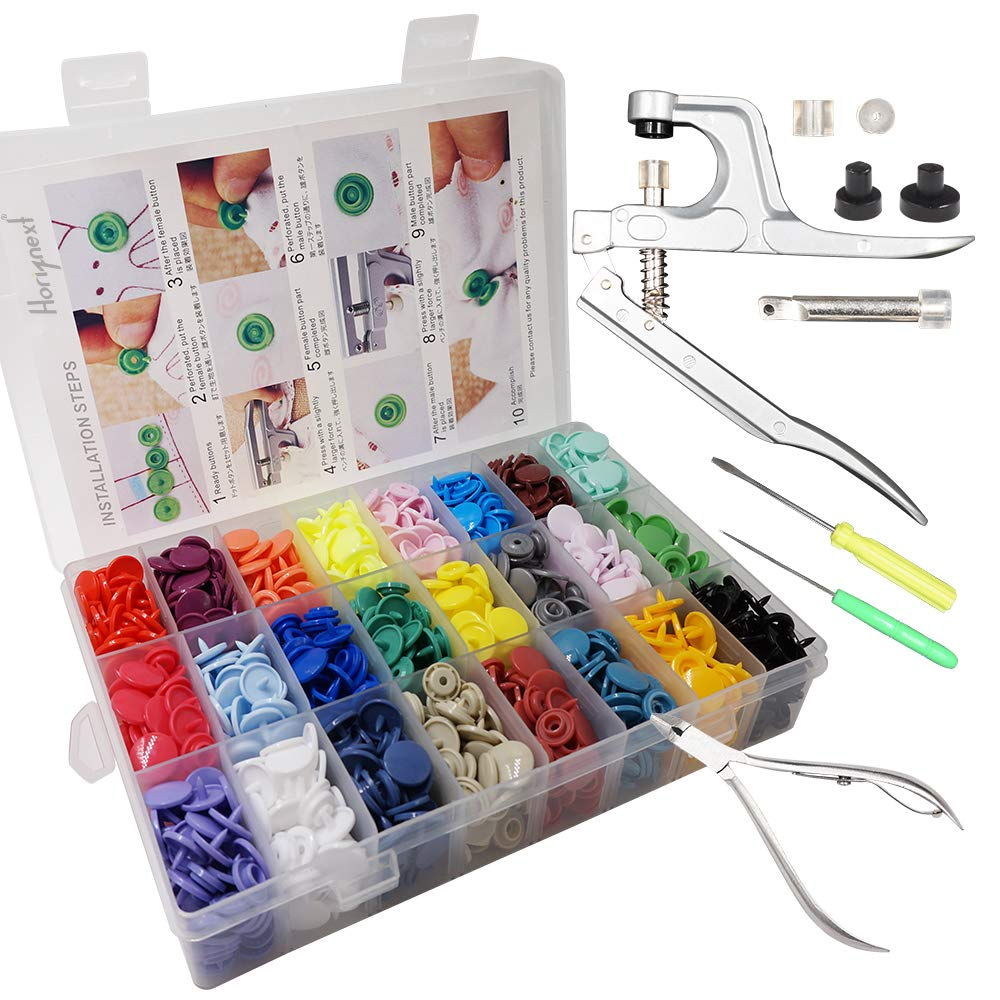 Horiznext Plastic Buttons Pliers Set with 24 Colors KAM Snaps Cloth Diaper Inserts Fasteners Including 360 Snaps dismounting and Assembling Tools by Horiznext