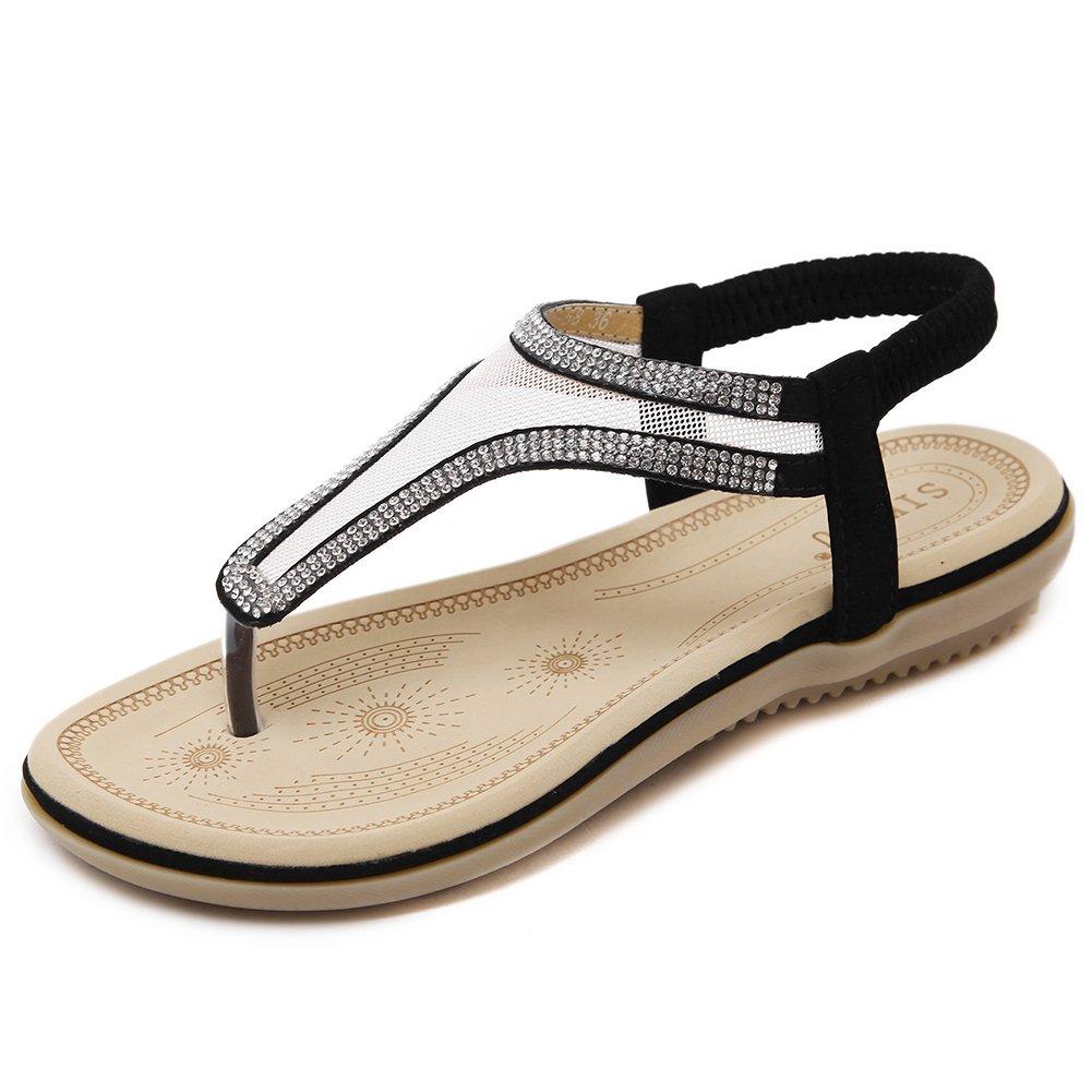 Dreamone Damen Sandalen Strass Zehentrenner Sommer Flach Strand Schuhe Sandaletten Gr.34-40  Gr??e35 = 34EU|Schwarz