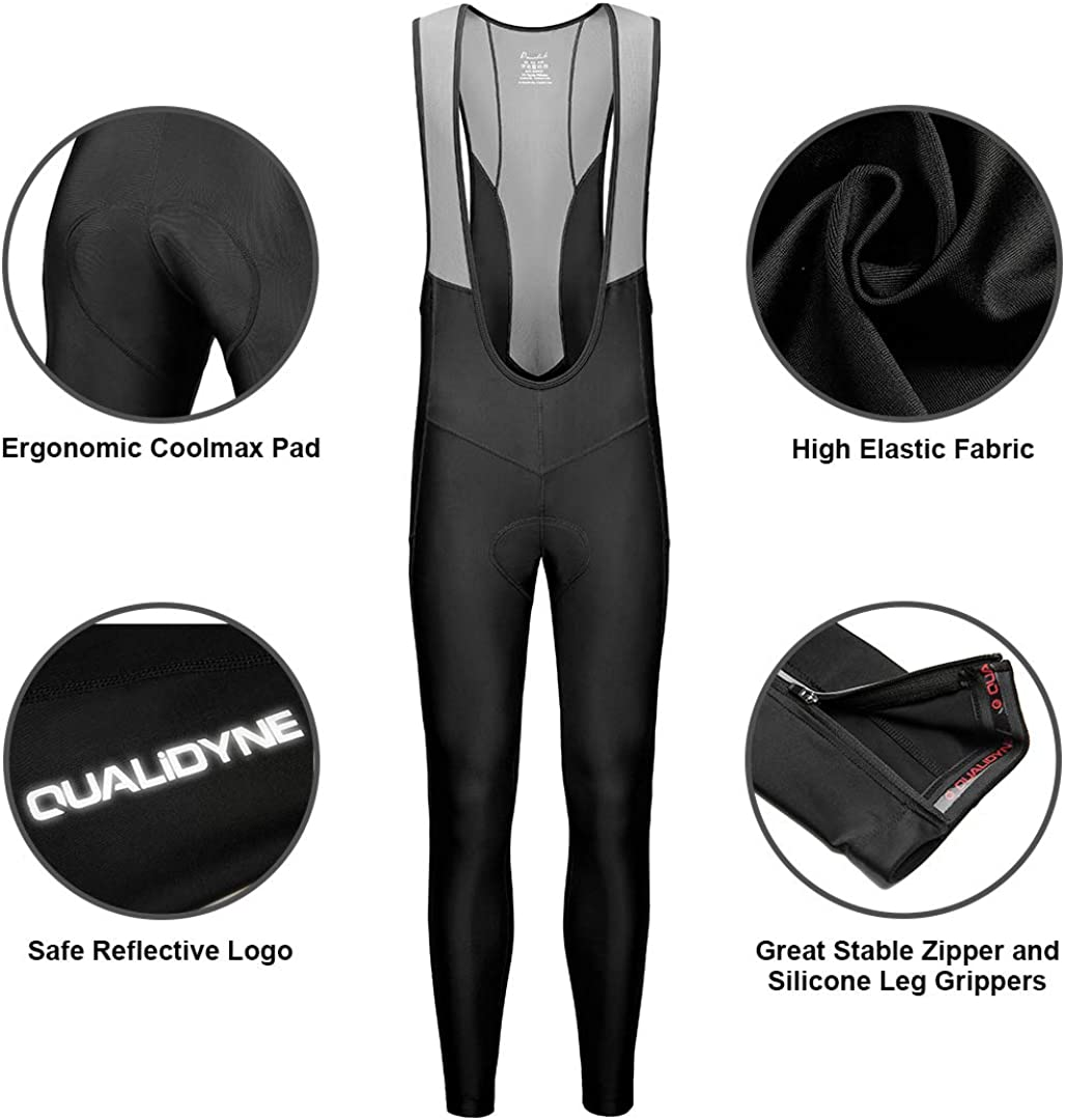 qualidyne Mens Cycling Bike Bib Long Pants Cycling Tights with 3D Breathable Pad Excellent Performance /& Better Fit
