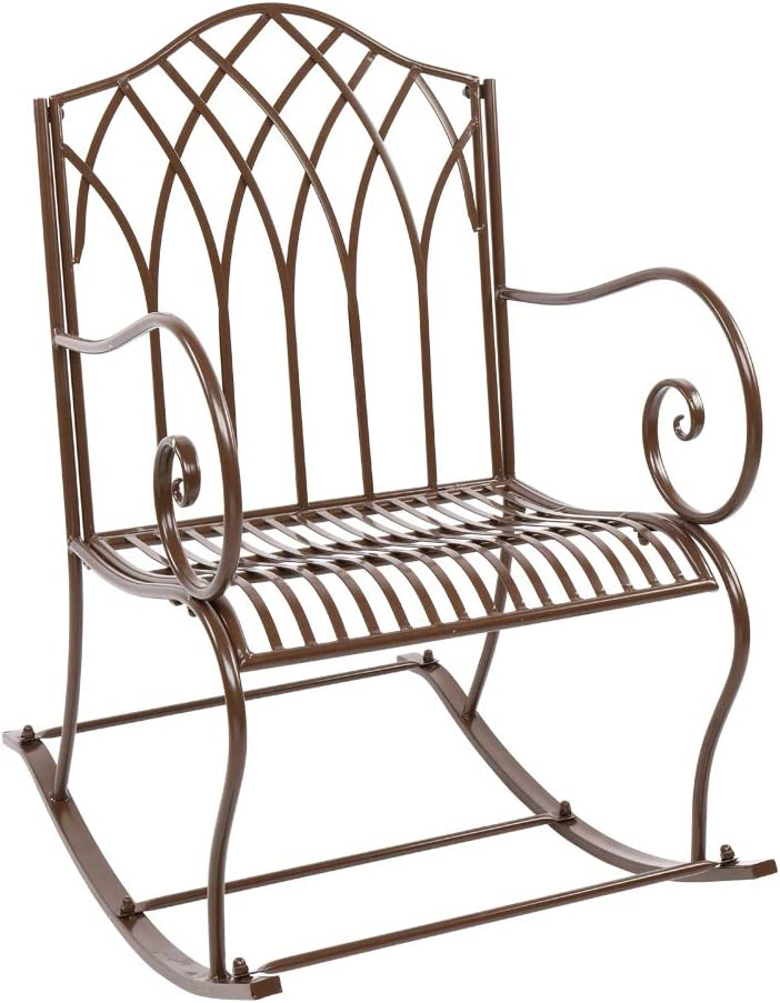 Outdoor Garden Patio Single Rocking Relax Leisure Chair Bench,Metal Frame Bench Patio Park Bench,Front Yard Porch Decor Seat,Armchair Porch Furniture Rocker Chair (22.64 x 31.69 x 37.4 inch)