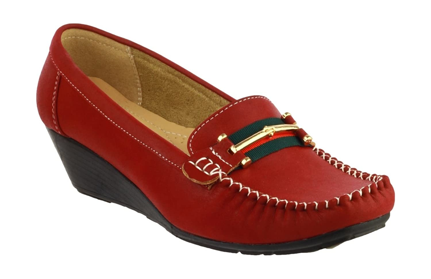 Amblers girls Amblers Ladies Casual Slip On Moccasin Style Shoe Red PVC