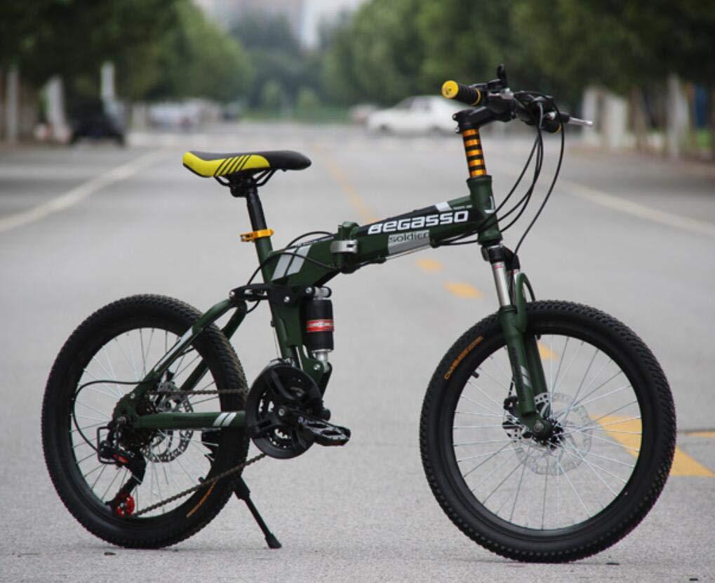 Esperando por ti verde Hycy Bicicleta De Montaña Totalmente Amortiguada, Frenos De De De Disco De 20 Pulgadas, Bicicleta De Montaña Plegable, Una Rueda, Cambio De Bicicleta,verde  forma única