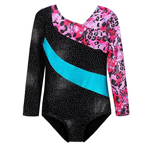 Long Sleeve Leotards Gymnastics for Girls 7-8 years old Pink Leopard Unitards