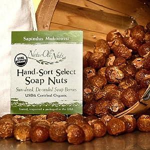 NaturOli Soap Nuts / Soap Berries. 4-Lbs USDA ORGANIC (960 loads) + 18X BONUS! (12 loads) Select Seedless, 4 Wash Bags, Tote Bag, 8-pg info. Organic Laundry Soap / Natural Cleaner. Processed in USA!