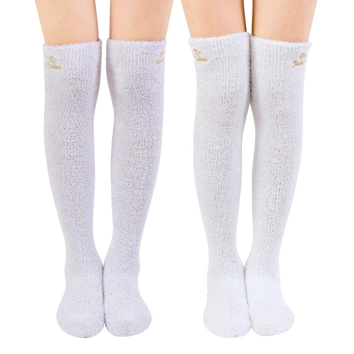 SKOLA Super Soft Warm Over The Knee High Long Winter Cozy Slipper Socks-2 Pairs FBCABRCTW2