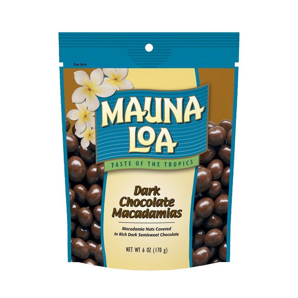 Mauna Loa Macadamias, Dark Chocolate, 6-Ounce Bags (Pack of 6)