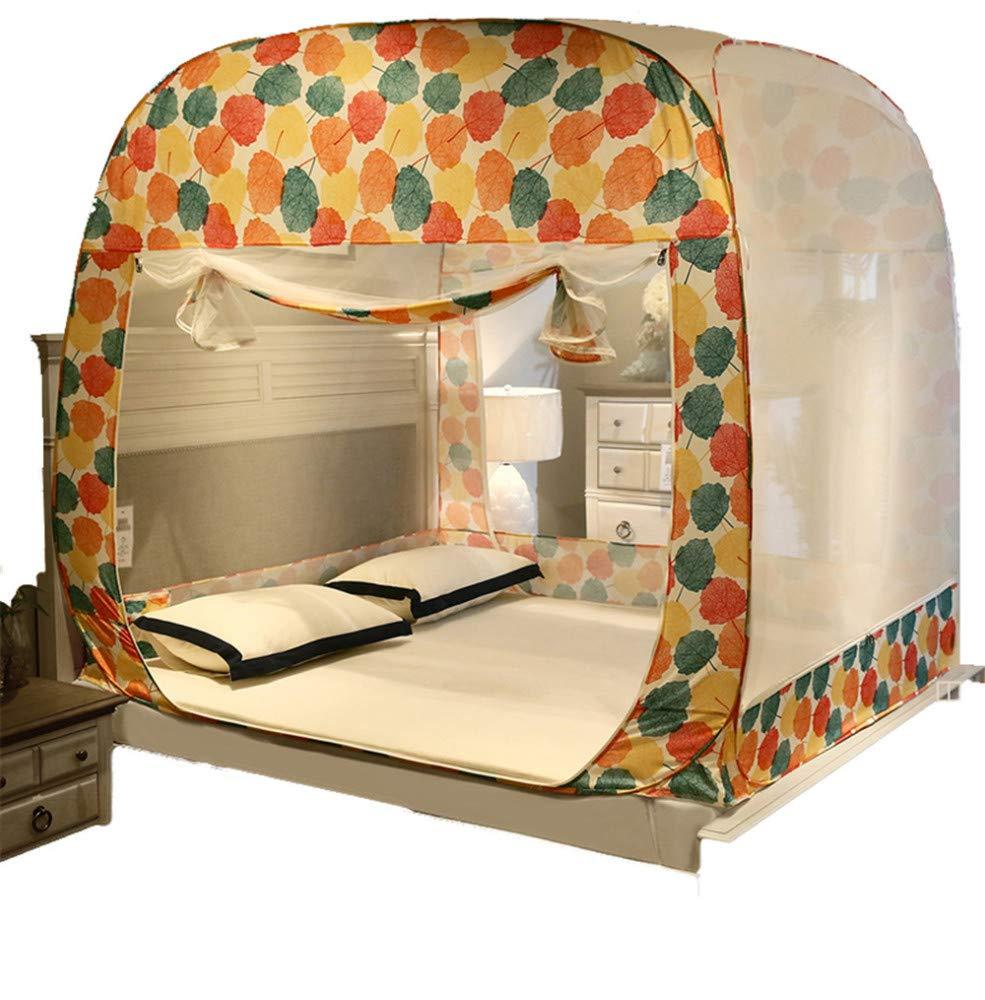 Three-Door Bed Mosquito net Free Installation Zipper Insect-Proof Gauze Summer Children's Single Double encryption Account, Orange.1.5M