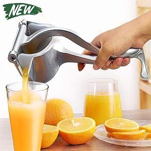 EJOYWAY Manual Fruit Juicer Portable Fruit Press Lemon Orange Squeezer Fruit Hand Squeezer Fruit Juicer Citrus Extractor Tool (Silver)