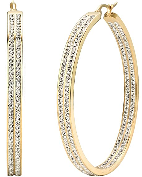 Jstyle Womens Stainless Steel Pierced Large Hoop Earrings with Rhinestone
