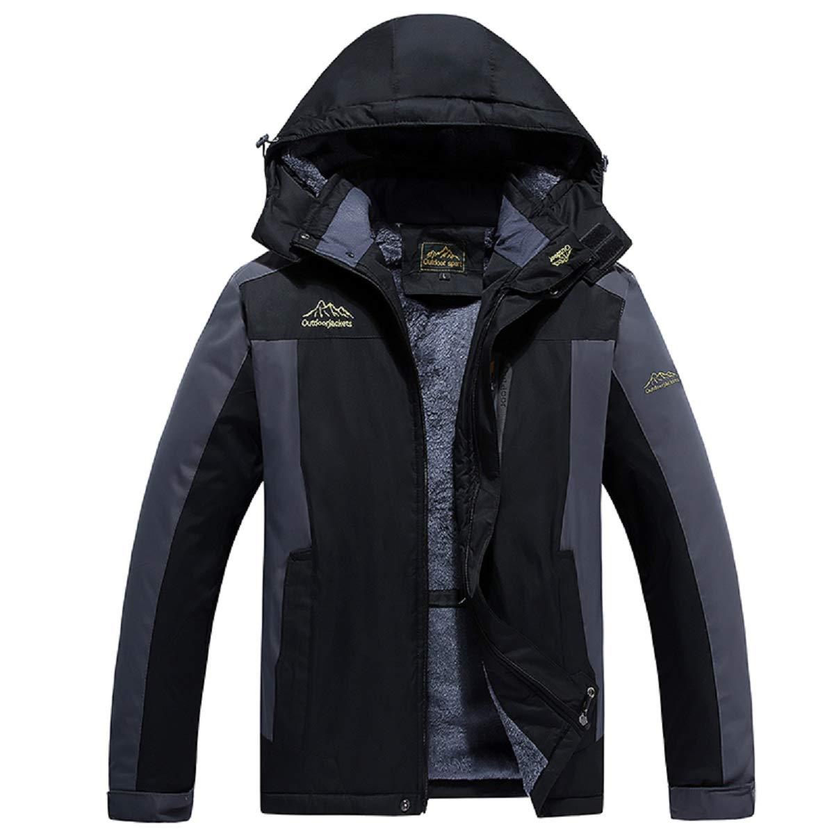 Vadoo Mens Waterproof Jacket Fleece Windproof Ski Multi Jaket Silver Misty Pockets Plus Size Xl 9xl Clothing