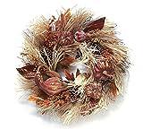 "Burton Pumpkin Gourd Corn Husk Pinecones Fall Harvest Wreath 24"""