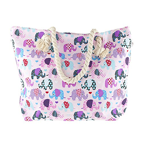 (Lux Accessories Women's Colorful Multi Elephant Print Tribal Tote Beach Bag)