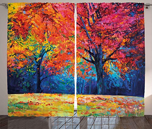 Ambesonne Nature Curtains, Colorful Trees and Falling Autumn Leaves Seasonal Art Picture, Living Room Bedroom Window Drapes 2 Panel Set, 108