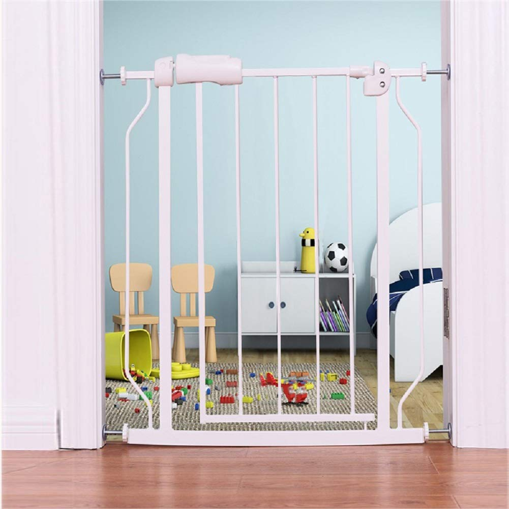 ALLAIBB Narrow Baby Gate Auto Close Pressure Mount White Metal Child Dog Pet Safety Gates with Walk Through for Stairs,Doorways,Kitchen and Living Room 24.2-27.6 in