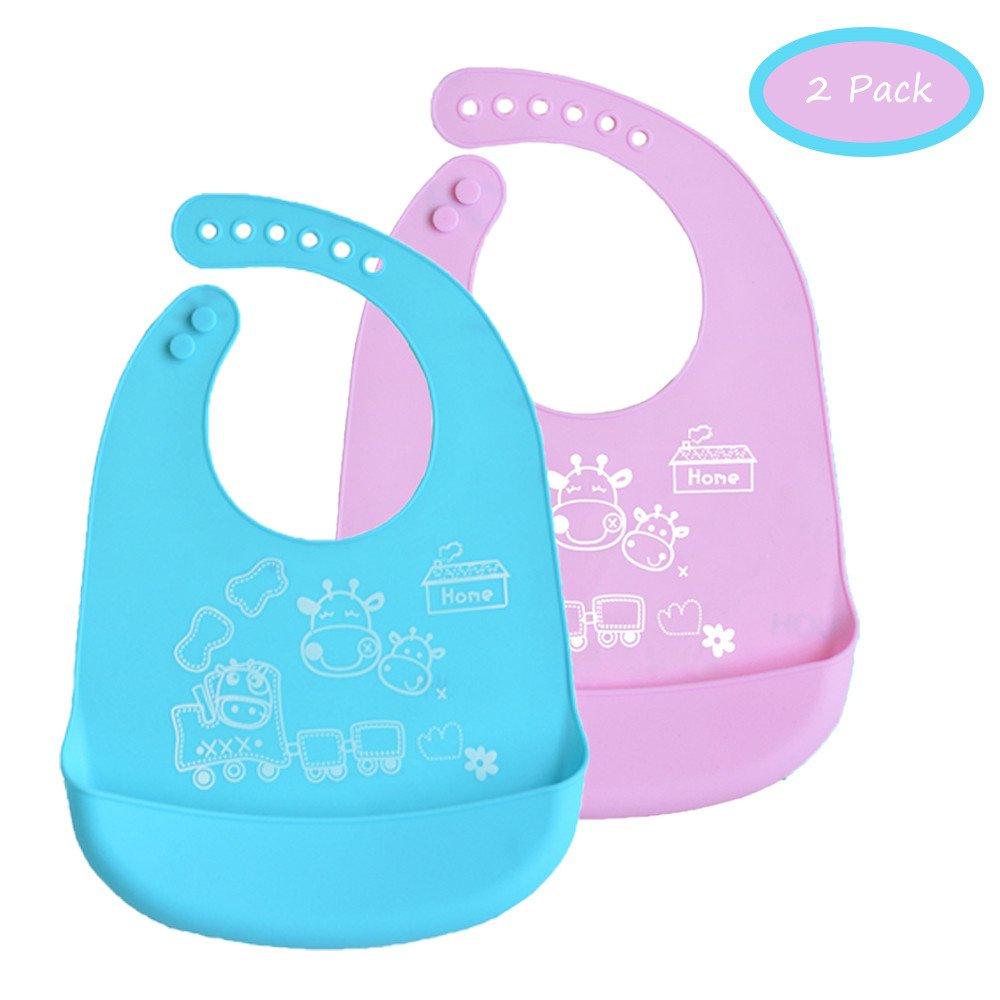 INCHANT Waterproof Roll up Bib Packs - Soft Comfortable Food Grade Silicone Kids Toddlers Infants Feeding Bib - Wide Food Crumb Catcher Pocket - Set of 2 Colours (Blue & Pink) Ecreate B017B+B017P-c