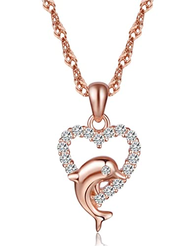 b58eda4908e Image Unavailable. Image not available for. Color  Infinite U Women s  Elegant Cute Dolphin Heart Pendant 925 Sterling Silver Cubic Zirconia  Necklace Rose ...