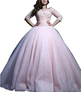 Dmdrs Womens Half Sleeve Lace Illusion Pink Plus Size Wedding Dress