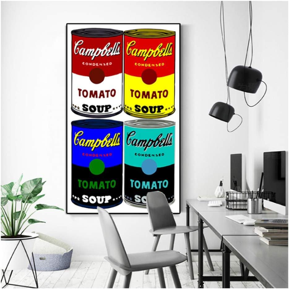 Andy Warhol Campbell's Soup Arte de Pared clásico Pintura al óleo Pinturas de Lienzo Famosas Cuadros de Pared para decoración de Sala de estar-50x75cm Sin Marco