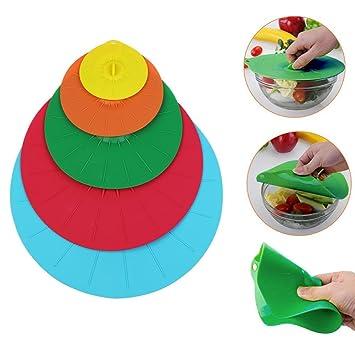 5 tamaños/Set Silicona Succión sello tapa tapa taza cuenco microondas alimentos almacenamiento cubierta