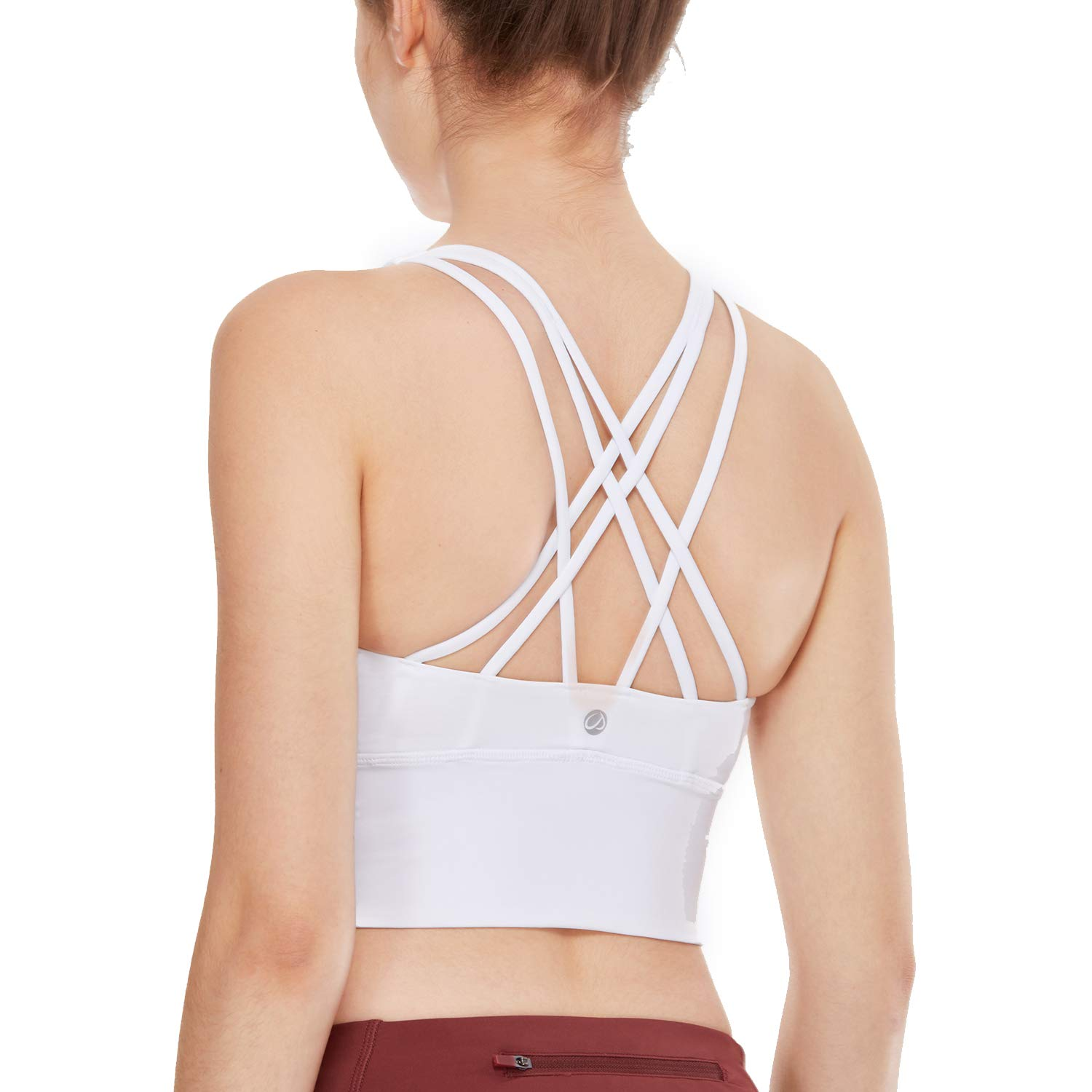 CRZ YOGA Strappy Sports Bras for Women Longline Wirefree Padded Medium Support Yoga Bra Top White L by CRZ YOGA