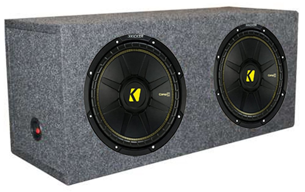 2) New Kicker 44CWCS124 12'' 1200W Car Subwoofers + Dual Sealed Sub Box Enclosure