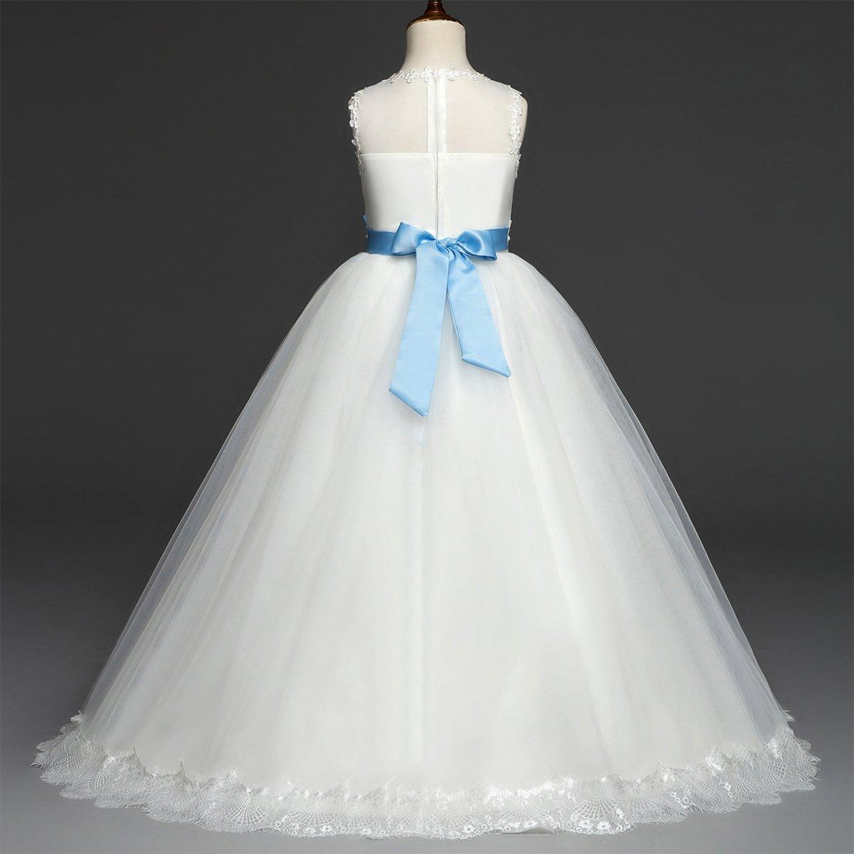c97dc7bcf Flower Girls Lace Tulle Dress Wedding Bridesmaid Communion Evening ...