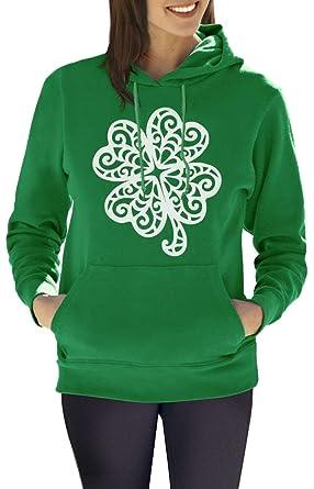 8115f3d2 Women Irish St. Patrick's Day Long Sleeve Kangaroo Pocket Green Sweatshirt  Hoodie Clover S
