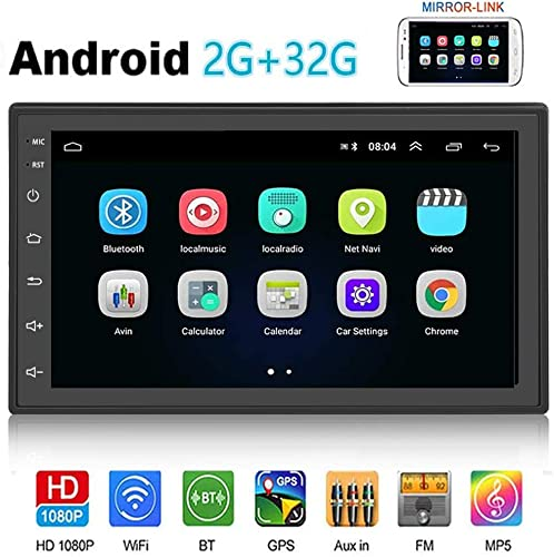 Car Radio Android 2GB 32GB 7 inch Double Din Car Audio WiFi GPS Navigation FM USB AUX Android iOS Mirror Link Rear Camera Input