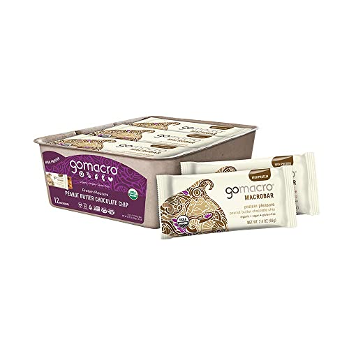 GoMacro MacroBar Organic Vegan Protein Bars – Peanut Butter Chocolate Chip 2.4 Ounce Bars, 12 Count