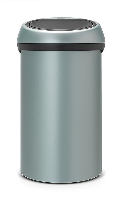 Brabantia Touch Bin - Cubo de Basura, 60 litros, con Tapa, Color Menta