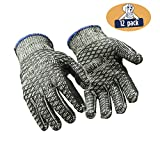 RefrigiWear Heavyweight Knit Double Sided PVC Honeycomb Glacier Grip Work Gloves, Pack of 12 Pairs (Black, Medium)