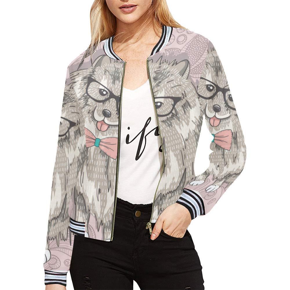 InterestPrint Women's Stand Collar Zip up Hipster Spitz Glasses Bowtie Cute Puppy Print Bomber Jacket Coat