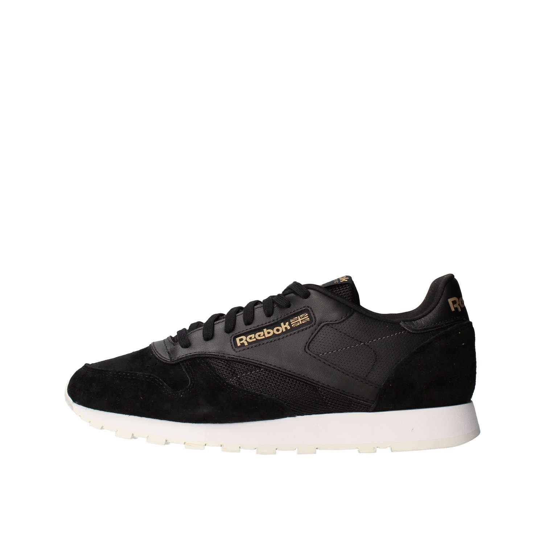 Reebok Herren Classic Leather Alr Sneaker  40 EU|Schwarz/Gold (BLACK/CHALK/ASHGRY/BRASS)