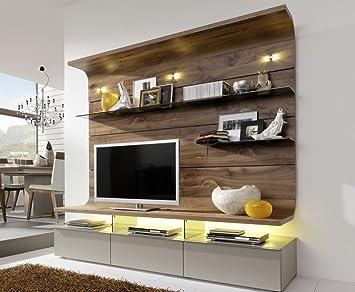 Gwinner Felino FE32 Wohn-Wand mit Beleuchtung und Vollauszügen ...