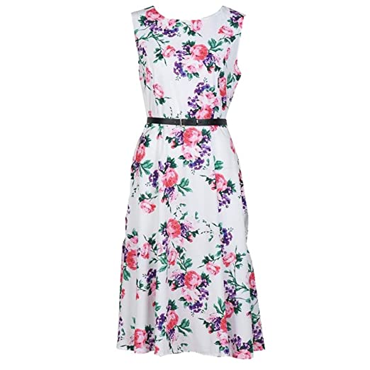 Misaky Women Sleeveless Dress, Flower Printing Vintage Dress with Belt (S, White)