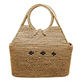 JavaCrafts Rattan Top Handle Handbags Tote Bags Handwoven For Woman Holiday