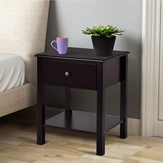 Amazon Com Casart End Table Wood Nightstand Storage Display Bedroom Furniture With Drawer Shelf Beside Brown 1 Kitchen Dining