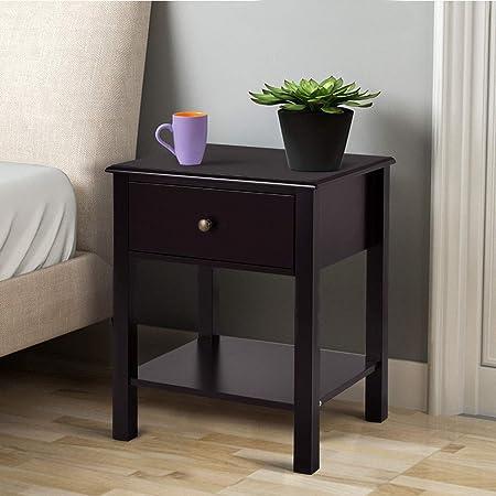 Casart End Table Wood Nightstand Storage Display Bedroom Furniture with Drawer Shelf Beside Brown 1