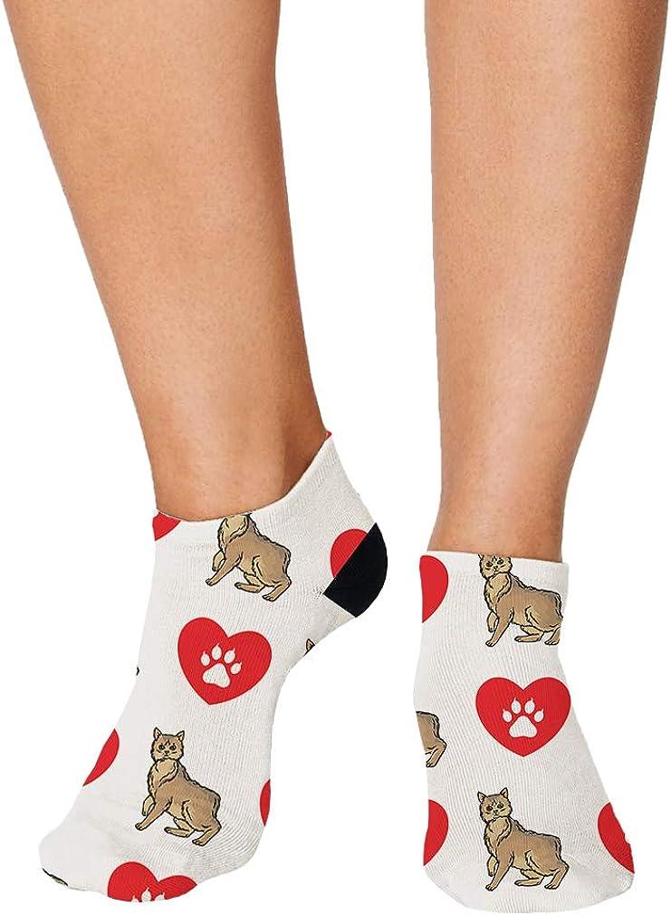 Manx Cat Heart Paws Pattern #3 Men-Women Adult Ankle Socks Crazy Novelty Socks