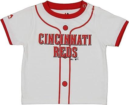 White Majestic MLB Toddler Cincinnati Reds Batter Up 3//4 Sleeve Henley Tee