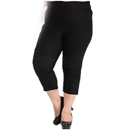 Madehappy Women Pants Plus Size Womens Cropped Trousers Capris Harem Pencil Pants Elastic Waist Slim Hip Black Trousers M259 at Amazon Womens Clothing ...