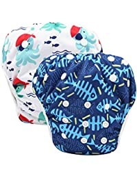 0e68c01960 Reusable Swim Diapers Covers Waterproof Swimming Pants for 8-36lbs Unisex  Baby Pack of 2