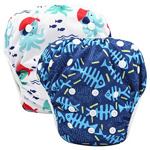 storeofbaby Unisex Baby Reusable Swim Diapers Waterproof Pool Pants for Swimming Lessons Blue White