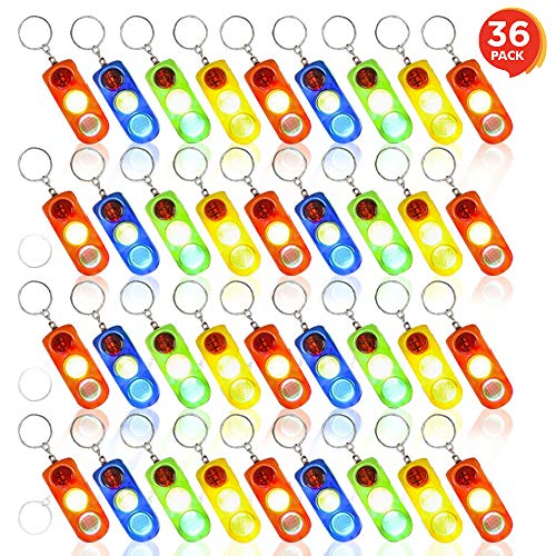 ArtCreativity Light Up Traffic Light Keychains for Kids (Set of 36) | Flashing LED Birthday Party Favors and Goody Bag Fillers | Stocking Stuffers Toys, Classroom Reward, Prize for Boys and Girls