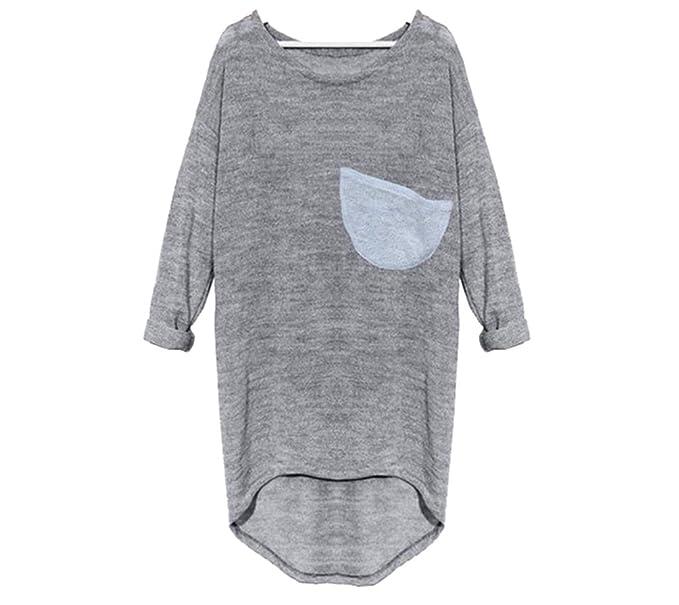 NiSeng Mujeres Fuera Del Hombro Camisas Elegante Largo Tejer Blusa Color Sólido Casual Loose Larga T