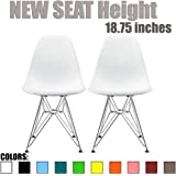 2xhome Set of 2 White Desk Chair Mid Century Modern Plastic Molded Shell Assembled Chairs Chrome Wire Base Metal Eiffel Side