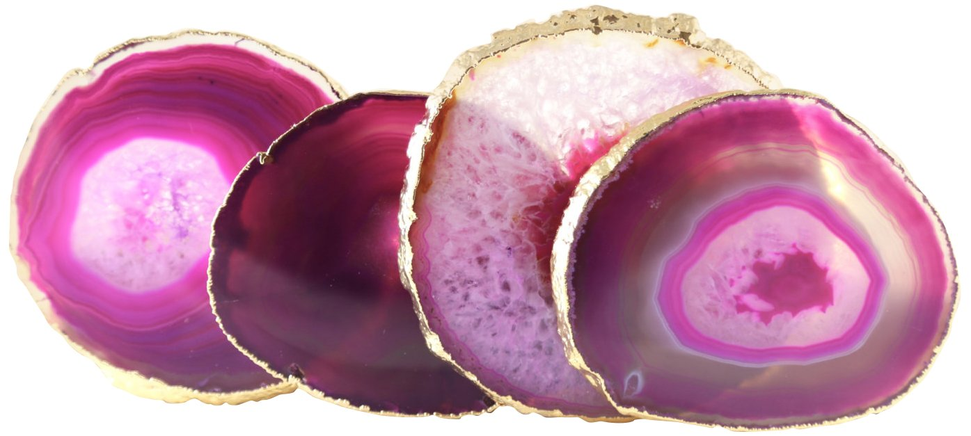 Stephen D. Evans Hot Pink Agate Coasters, Set of 4, Gold