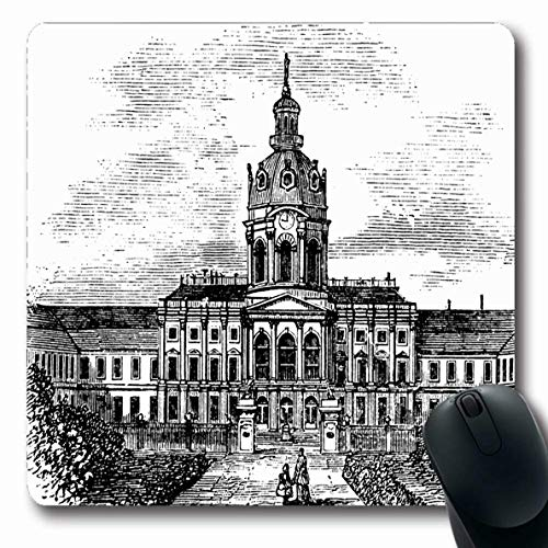 Ahawoso Mousepads Century Castle Charlottenburg Royal Palace Berlin Germany Vintage During Clip 18Th Old Drawing Oblong Shape 7.9 x 9.5 Inches Non-Slip Gaming Mouse Pad Rubber Oblong Mat