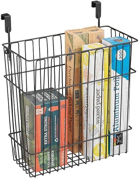 Amazon Com Mdesign Metal Wire Hanging Over Door Kitchen Storage Organizer Basket Trash Can Hangs Over Cabinet Doors For Bags Tin Foil Wax Paper Saran Wrap Solid Steel Matte Black