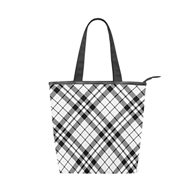 35b583139b28 Black And White Diagonal Checkered Women's Canvas Iconic Large ...